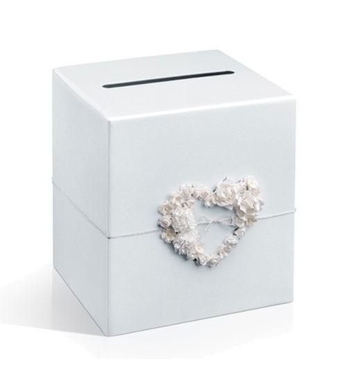 Kartenbox mit Herz aus Papierblumen - weiß