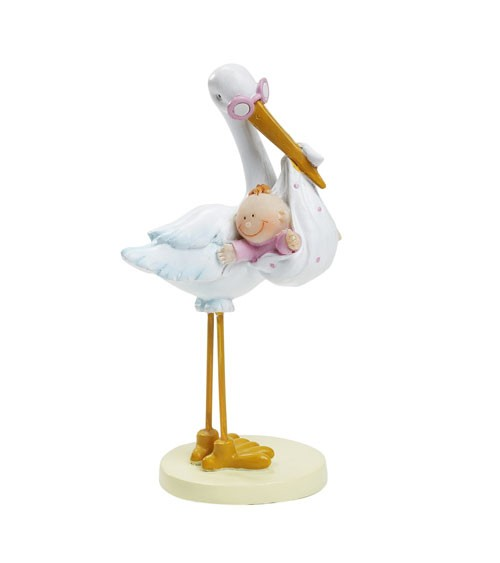 """Figur """"Storch mit Baby Girl"""" - 11 cm"""