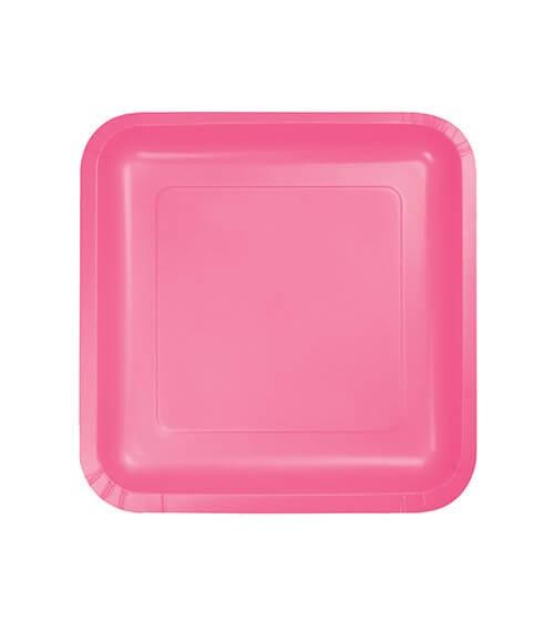 Kleine eckige Pappteller - candy pink - 18 Stück
