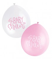 "Luftballon-Set ""Baby Shower"" - rosa/weiß - 23 cm - 10 Stück"