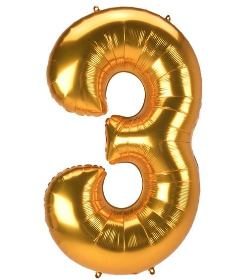 "JumboShape-Folienballon Zahl ""3"" - gold - 81 x 134 cm"