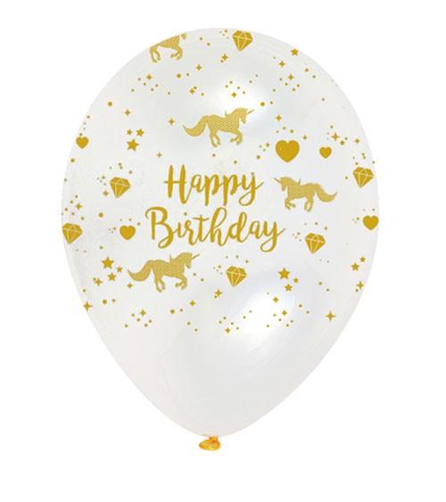 "Luftballons ""Einhorn"" - Happy Birthday - kristall/gold - 6 Stück"