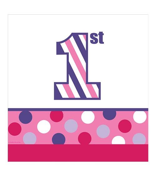 """Kunststoff-Tischdecke """"1st Birthday - Girl"""" - 122 x 224 cm"""