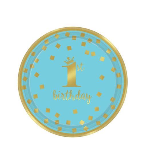 """Kleine Pappteller """"1st Birthday"""" - türkisblau/gold - 8 Stück"""
