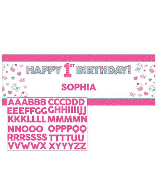 "Individualisierbarer Partybanner ""Happy One - pink"" - 152 x 50,8 cm"