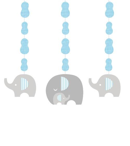 """3er Motivgirlande """"Kleiner Elefant - hellblau"""""""