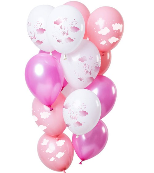 "Luftballon-Set ""It's a Girl"" - Farbmix Rosa - 12-teilig"