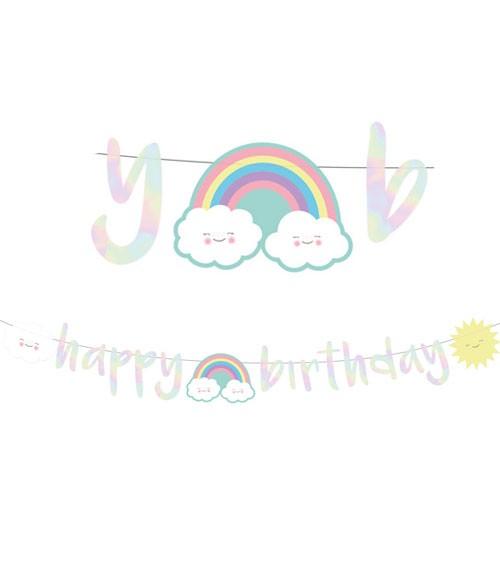 """Happy Birthday Girlande """"Regenbogen und Wolke"""" - 1,8 m"""