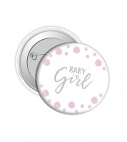 "Button ""Baby Girl"" - Punkte Rosa"