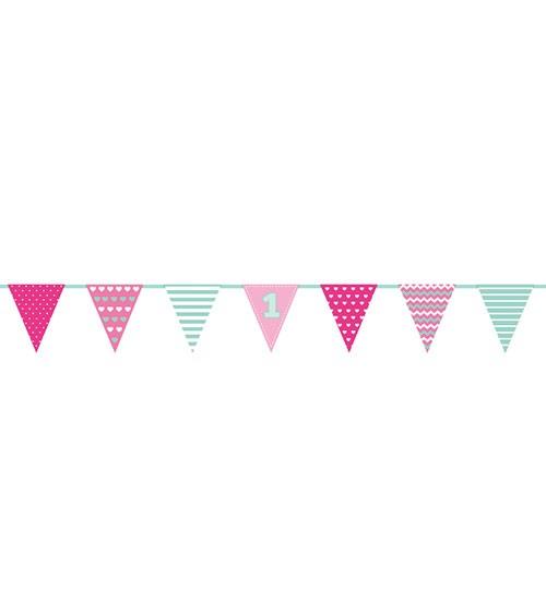 Pinke Wimpelgirlande erster Geburtstag