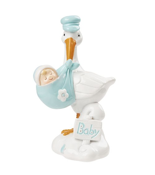Deko-Storch mit Baby - türkis - 9 cm