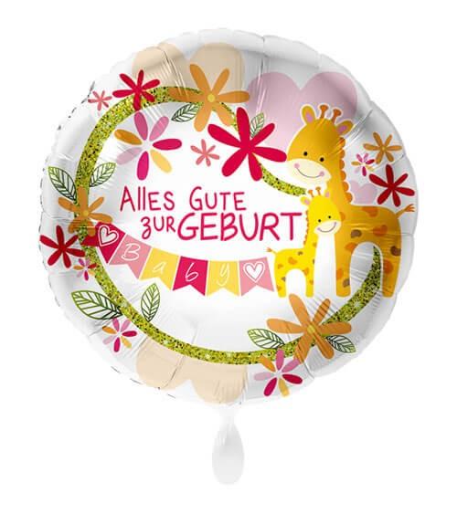 "Folienballon mit Giraffen ""Alles Gute zur Geburt"" - rosa - 43 cm"