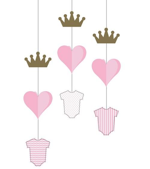 Hängedeko mit Babybody, Krone & Herz - rosa, gold - 3 Stück