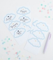 Babyparty-Gäste-Sticker in Wolken-Form - blau - 18-teilig