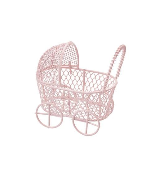 Deko-Kinderwagen aus Metall - rosa - 7 cm