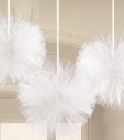 Tüll-Pom-Poms - weiß - 30,4 cm - 3 Stück