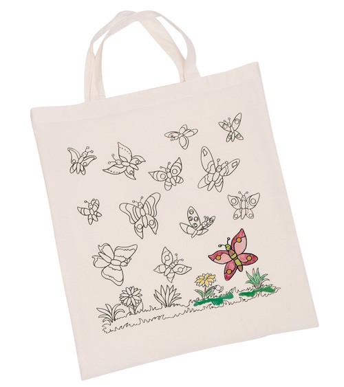 """Baumwollbeutel """"Schmetterlinge"""" zum Ausmalen - 38 x 42 cm"""
