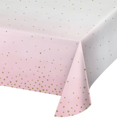 """Papier-Tischdecke """"Rosa und Gold"""" - 137 x 259 cm"""