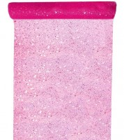 Tischläufer aus Tüll - glitter pink - 30 cm x 5 m