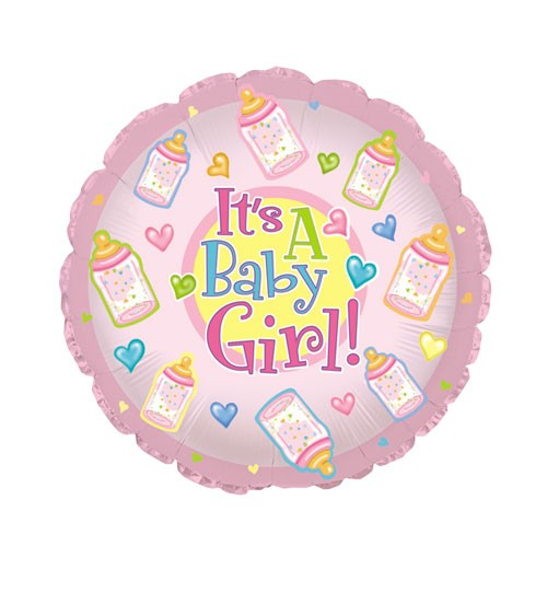 "Runder Folienballon ""It's a Baby Girl!"" mit Babyfläschchen"
