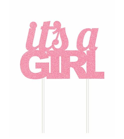 """Kuchen-Topper aus Papier """"It's a Girl"""" - glitter rosa"""