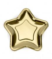 Stern-Pappteller - metallic gold - 6 Stück