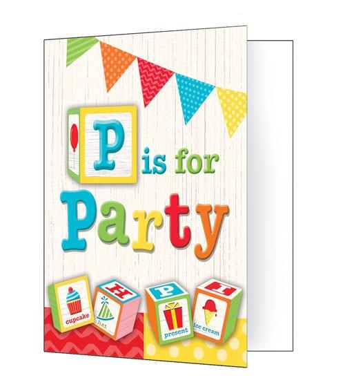 """Einladungskarten """"Geburtstags-ABC"""" - 8 Stück"""