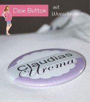 Dein Button: Uroma & Wunschname - lila - 56 mm