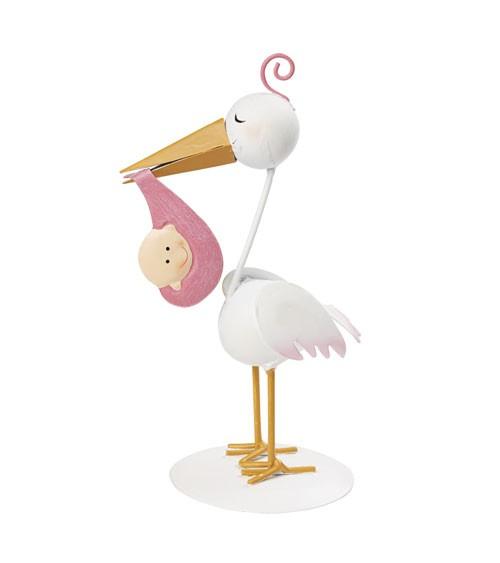 Storch mit Baby-Mädchen aus Metall - 18 cm